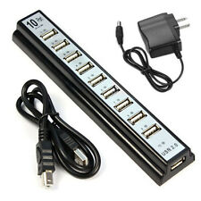 for PC Laptop Computer 10 Port Hi-Speed USB 2.0 Hub + Power Adapter Computer