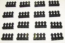 LEGO LOT OF 16 BLACK FENCES 1 X 4 X 2 PICKET GARDEN HOME YARD PIECES