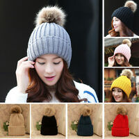 Women Cute Faux Fur Ball Knit Crochet Beanie Cap Winter Warm Beret Ski Baggy Hat