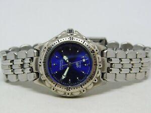"Fossil Blue AM-3099 Silver Tone Quartz Analog Ladies Watch Sz. 6 3/4"""