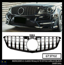 MERCEDES BENZ C-CLASS W204 2007-2015 FRONT GRILLE BLACK PANAMERICANA GT STYLE