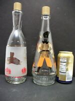 2 Vtg Vodka Arrow Liquor Bottles Russian Frosted Decanters Gold Cossacks EMPTY