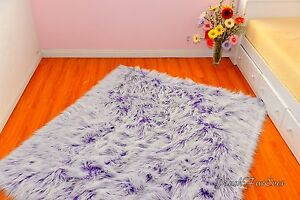 Mongolian Faux Fur Rug Sheepskin Purple White Nursery Area Rugs Premium Accent