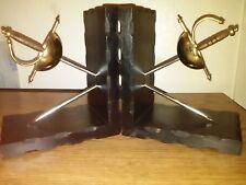 medieval spanish sword book ends wooden brass metal vintage spain