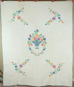 BEAUTIFUL Vintage 30's Floral Bouquet Applique Antique Quilt ~GREAT QUILTING!