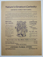 Chinese Floral Store San Francisco CA Vintage Flyer Advertisement Flowers Plants