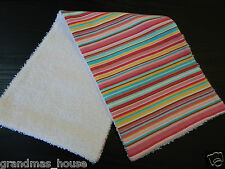 Candy Stripe MultiColour  Burp Cloth ONE ONLY Towelling Backed GREAT GIFT IDEA