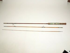 """Antique Wright & McGill 3 Piece Bamboo Fly Fishing Rod 8'4"""" Denver Col U.S.A."""