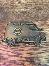 Vintage Brass Bell Telephone ☎️ Safe Driving Employee Service Belt Buckle