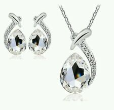 Crystal Necklace and earring set clear silver Christmas birthday wedding 648