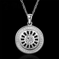 Rad Zirkonia Halskette Anhänger mit 925 Silber Damen Kette Rund Stein  1154