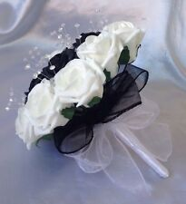 Wedding NERO BIANCO SCHIUMA ROSE FIORI BOUQUET Damigelle cristallo artificiale
