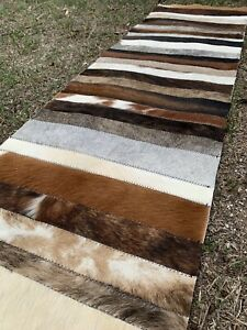COWHIDE TABLE RUNNER PATCHWORK CARPET AREA RUG LEATHER cow hide