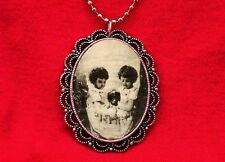 Vintage Pendant Necklace Skull Kids Optical Illusion