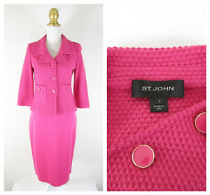 St. John Womens Pink Knit Wool Silk Skirt Suit Set Size 4 6 Formal Career