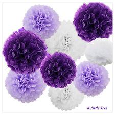 "9 PCs Purple Lilac White Tissue Paper Pom Poms Pompom Wedding( 8""+10"")"