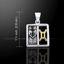 Gemini Zodiac Symbol .925 Sterling Silver Pendant 14k Gold Accents Peter Stone