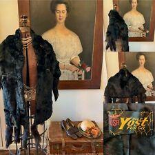 Antique Victorian Black Fur Cape.Stole.Wrap.with Tails & Original Yost Label