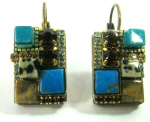 Michal Golan Gold Tone Mosaic Stones Rhinestones Dangle Pierced Earrings