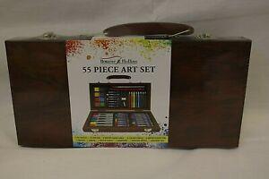 Art Set 55 Piece BNIB Oil Pastels Crayons Pencils Cakes  Wooden Case Palette #D2