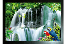 BLACK FRAMED PARADISE TROPICAL WATERFALL WITH PARROTS - 3D PICTURE 465mm x 365mm