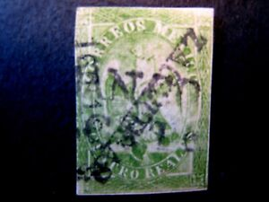 1864 Mexico S# 24,  4 Real Green Stamp Type V, Used
