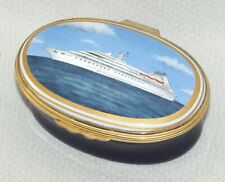 Vtg Oval Shaped Seabourn Cruise Line Box Halcyon Days Enamels 75 / 125 Sign 157r