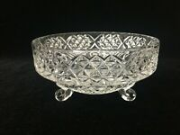 "Vintage Glass Footed Candy Dish Bowl, 6"" Diameter x 3"" High"