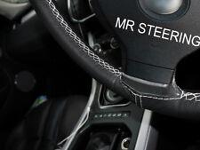 FITS 10-13 VW TOUAREG MK2 BLACK LEATHER STEERING WHEEL COVER WHITE DOUBLE STITCH