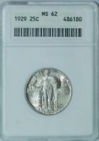 1929 P ANACS MS62 Standing Liberty Quarter