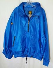 Descente Sport Jacket Pullover 1/2 Zip Hooded Mens XL Nylon Blue Lined