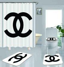 4PCS Shower Curtain Gucci Christmas Bathroom Carpet Set Bath Mat Non-slip Gift