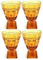 Indiana Glass Colony Park Lane Amber Wine Juice Glass 4 1/2 oz SET of 4 Vintage