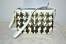 NWOT $225 MILLY Dylan MIni Metallic Woven Crossbody Bag Gold Black White Leather