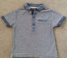 Next Baby t-shirt polo shirt 9-12 months cotton blue white 100% cotton striped