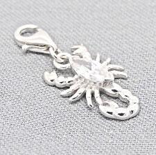 925 Sterling Silber Charms Anhänger Zirkonia Charm Sternzeichen Skorpion + Etui