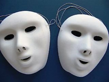 Masquerade White Card Face Masks To Colour 20x15cm Elastic Children Craft PK16
