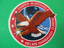 """Nasa Sticker Eagle Casper McMonagle Runco Harbaugh Helms 3 1/2"""" Dia"""