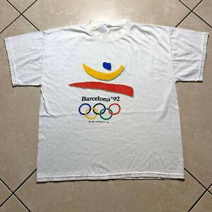 Vintage 1992 Barcelona Olympics Logo Promo T Shirt Large VTG White Single Stitch