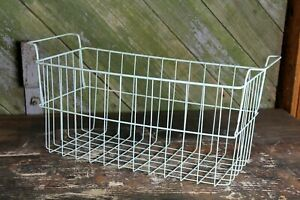 Vintage Blue Wire Basket Old Farmhouse Country Decor Flowers Blankets