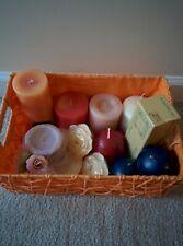 Lot of 11 unused Candles in Orange Basket