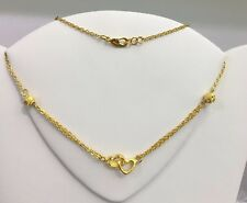 24k Solid Gold Beautiful Love Hearts Chain/ Necklace 18 Inches. 7.34 Grams