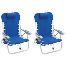 RIO Brands Portable 4 Position Lace Up Folding Backpack Beach Chair (2 Pack)