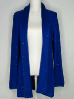Laura Ashley Womens Open Front Cardigan Sweater Long Sleeves Sparkly Blue Size M