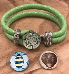 Green Double Rope Cloth Bangle Bracelets with 3 Snap Noosa Charms Buttons NEW!!