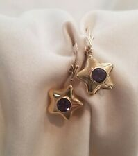 14k yellow gold lever back star with amethyst earrings