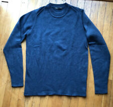 Mens NAU Wool Pullover Sweater Top Size M Blue Longer Length