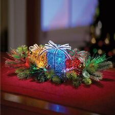 Lighted Gift Box Floral Christmas Centerpiece.