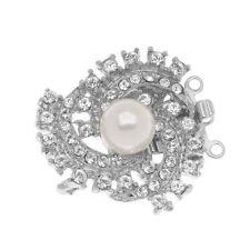 Elegant Elements Rhodium Plated 3-Strand Clasp - Spiral Galaxy Crystals & Pearl
