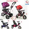 4 In 1 Child Kids baby Tricycle Trike Pushchair Buggy Stroller Pram Rain Cover